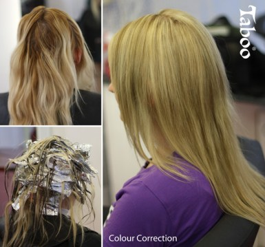 Hair Colour Correction before and after photo by Tina Fox Hairdresser