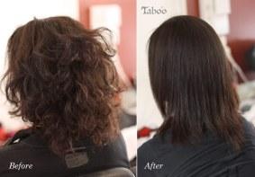 Chemically straightened dark hair