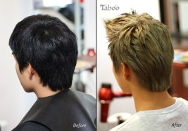 Mens hair colour style before and after photo