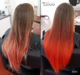 Orange ombre hair highlinghting
