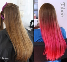 Pink ombre highlighting application