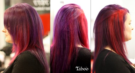 Vivid purple and pink hair colour design photo