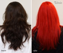 Neon red hair colour before and after photo