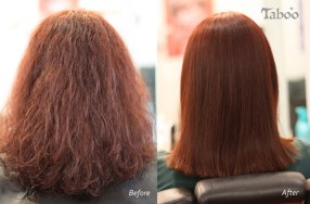 Chemical hair straightening result before and after photo