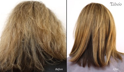 Chemical hair straightening result by Tina Fox Hairdresser