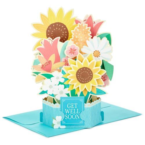 First Sunflower Bouquet Pop Up Get Well Card Sunflower Bouquet Pop Up Get Well Card Greeting Cards Hallmark Get Well Cards Kids Get Well Cards To Color