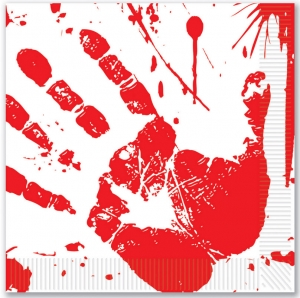Bloody Handprint Napkins