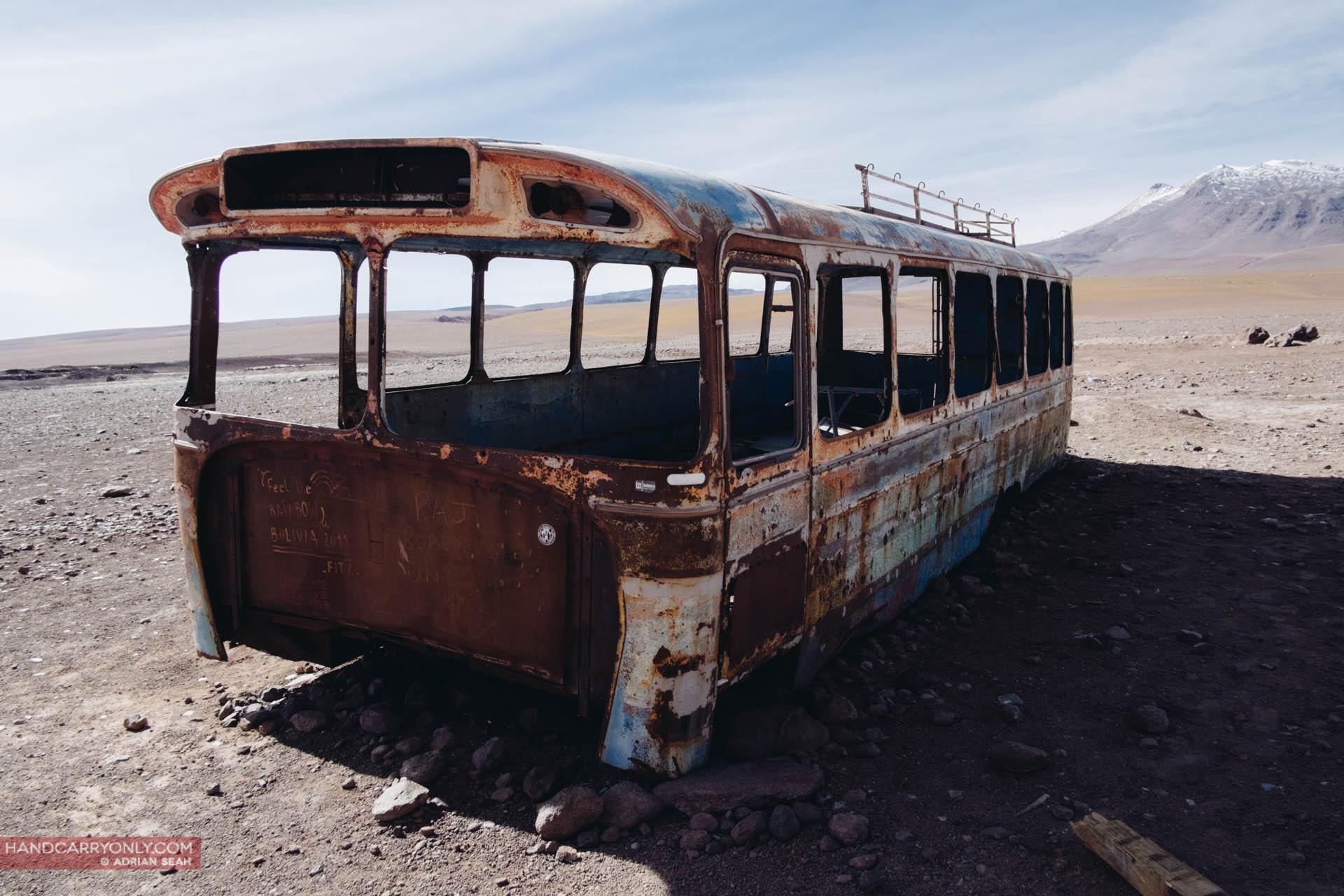 rusty bus bolivian altiplano