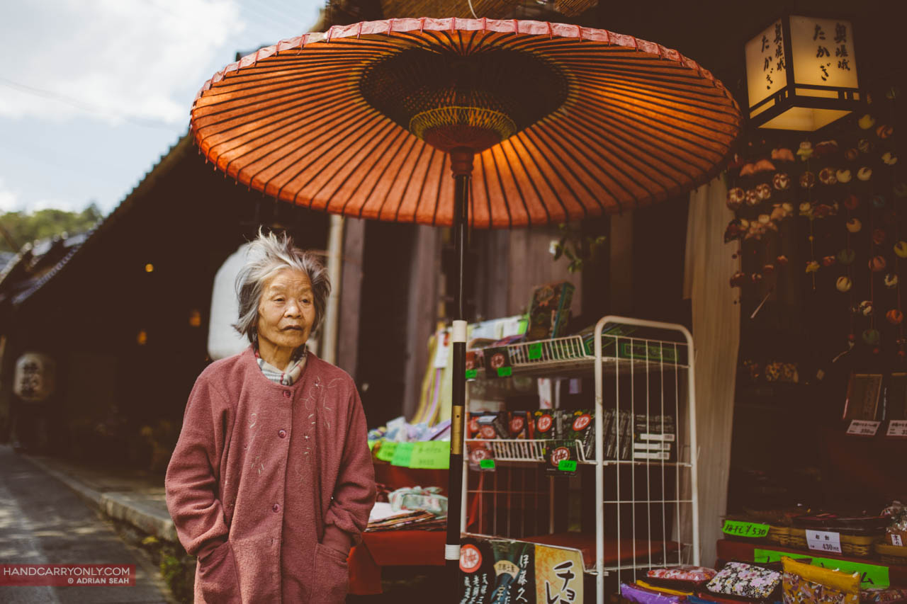 old lady traditional store kyoto japan