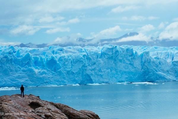 Man watching Perito Moreno Glacier Argentina