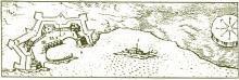 Γκραβούρα του 17ου αιώνα µε το Λαζαρέτο και το κτίσµα του λοιµοκαθαρτηρίου.