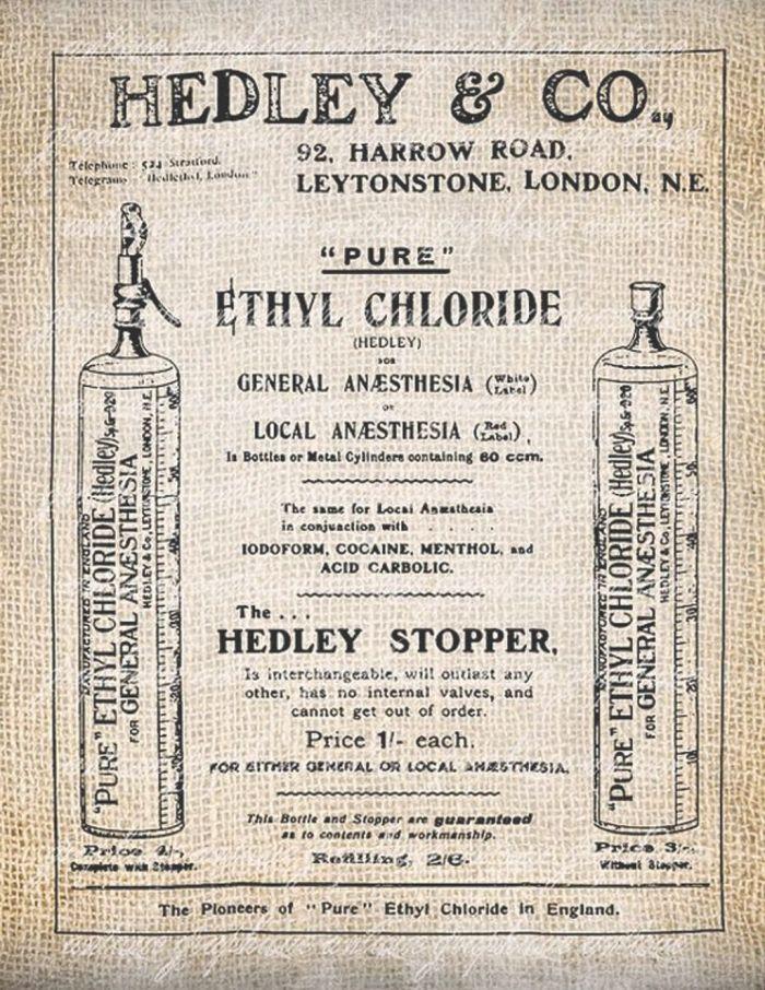 Διαφήμιση με αναισθητική ουσία της εταιρείας Hedley & Co, Αγγλία 1909.