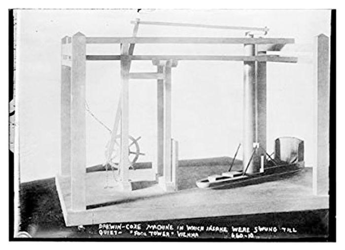 """""""Ο πύργος των τρελών"""": η μηχανή Darwin-Coxe, στην οποία περιστρέφονταν ψυχασθενείς με μεγάλη ταχύτητα έως ότου (εξουθενωμένοι) ηρεμήσουν… (Βιέννη, 1900)."""