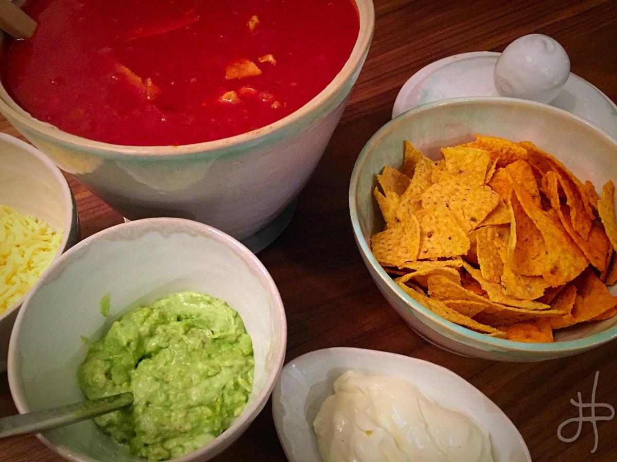 Mexikósk kjúklingasúpa með nachos