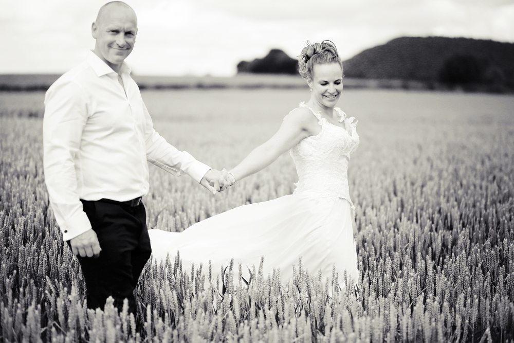 Bride & Groom in field