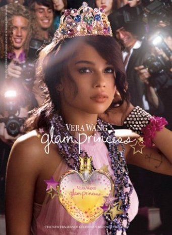 Wendy's Multi color jeweled tiara featured in a fashion magazine ad by Vera Wang