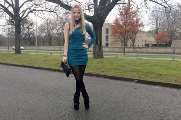 Hallhuber clutch & Asos dress