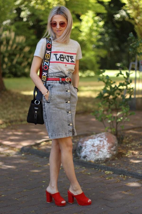 Scotch & Soda T-Shirt, Kenzo Kalifornia Tasche, ASOS Rock, Gucci Gürtel, Modeblogger aus Hannover