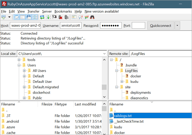 FTPing into Azure to look at logs