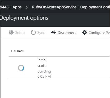 Azure deploying the Rails app