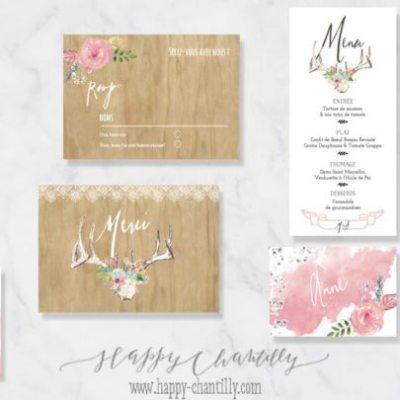faire-part-mariage-boheme-bois-cerf-fleurs-succulentes-plumes-happy-chantilly-collection