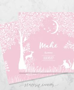 faire-part-naissance-dans-les-bois-foret-neige-blanc-rose-peinture