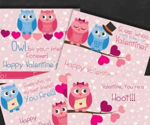 Free Owl Printable Valentines Day Cards + 10 Creative Valentine's Day Owl Ideas
