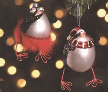 Penguin Glass Christmas Ornaments 1