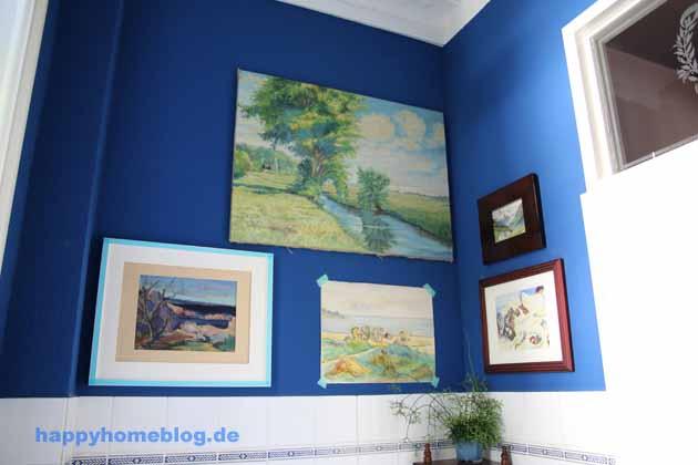 Landschaftsbilder Gallery Wall im Gäste WC Vintage