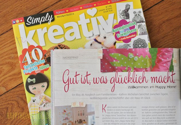 Der Happy Home Blog in der Presse simply kreativ