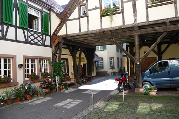 Courtyard of Hotel Sonne in Offenburg, Germany