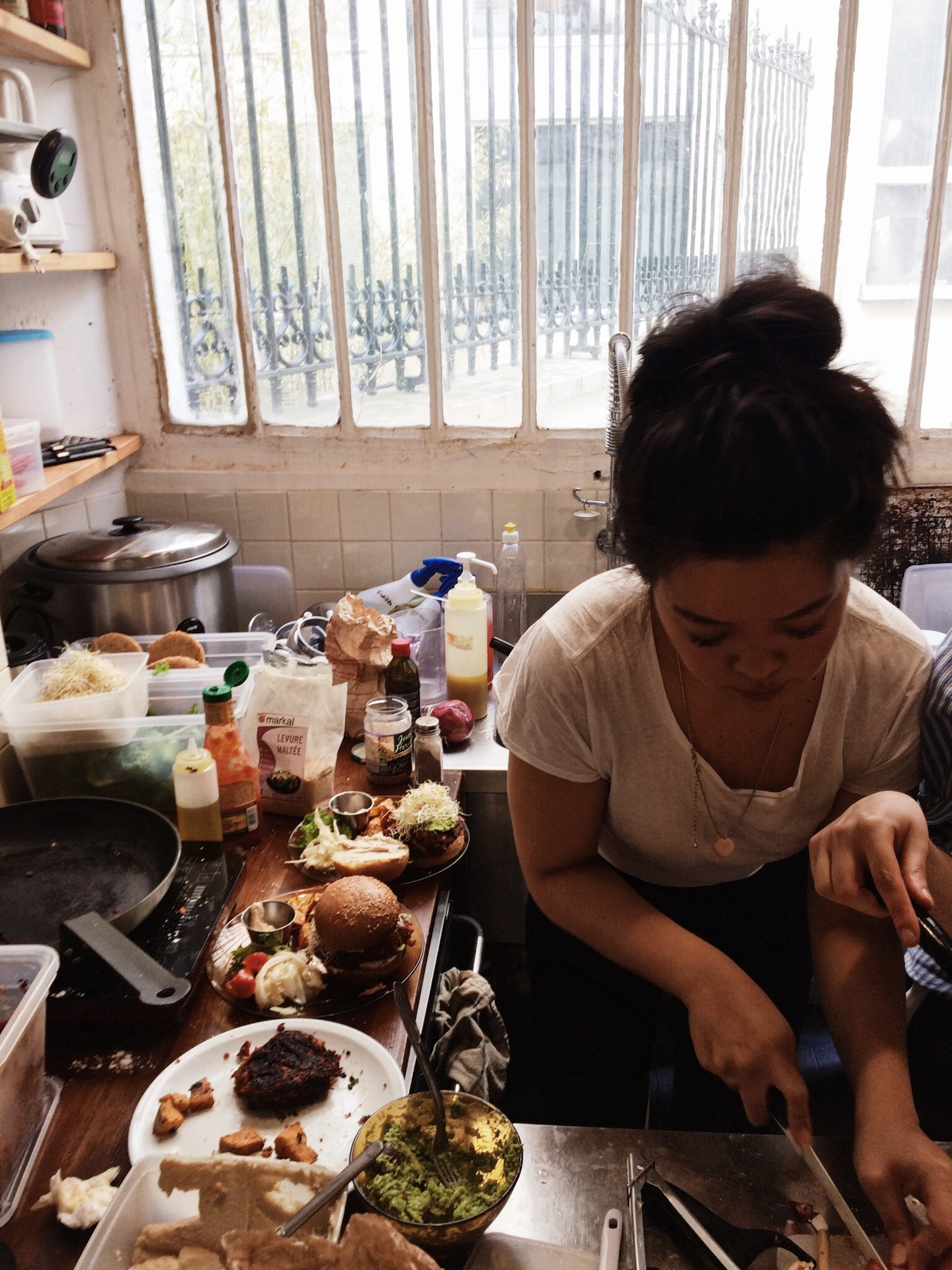 Yun in the kitchen making delicious vegan creations!