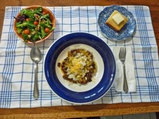 Organic Vegan Sprouted Black Bean Chili, salad and fresh baked cornbread