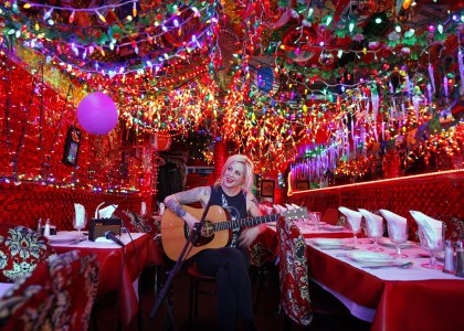 Brody Dalle during a Field Recordings video shoot at Panna II Indian Restaurant in New York's East Village.