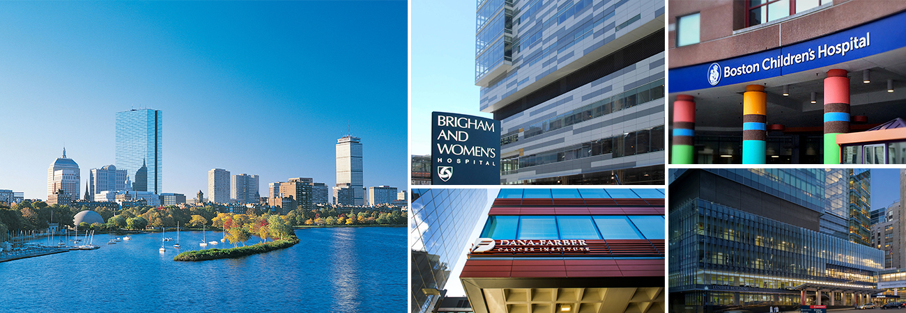 Boston skyline, Brigham and Womens, Boston Children's, Mass General Hospital