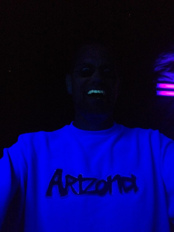 He who walks in the black light (a.k.a. my husband Wayne right before the spinning tunnel.)