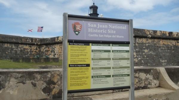 San Juan National Historical Site sign