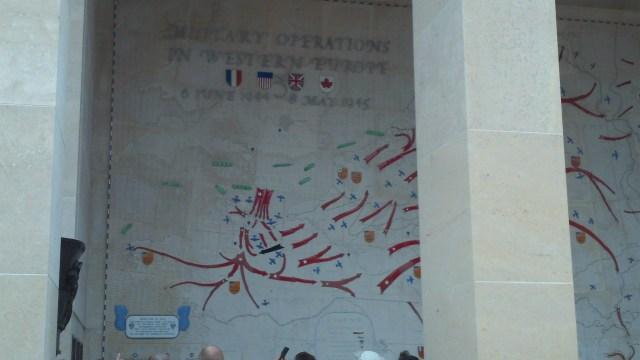Map inside memorial at Normandy American Cemetery.