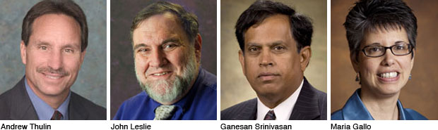 Headshot of Andrew Thulin, John Leslie, Ganesan Srinivasan and Maria Gallo