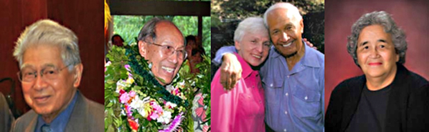 From left: Daniel Akaka, Richard Blaisdell, Eddie and Myrna Kamae, and Marvlee Naukana-Gilding