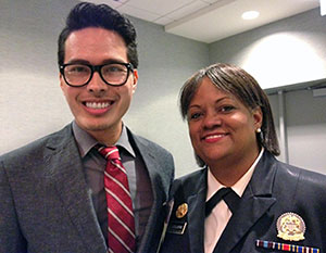Jacques Ambrose and 18th Surgeon General of the United States Regina Benjamin at the Minority Affairs Section meeting. (Photo courtesy of JABSOM)