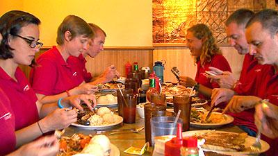 HI-SEAS crew members enjoying a meal at Hilo's Hawaiian Style Cafe.