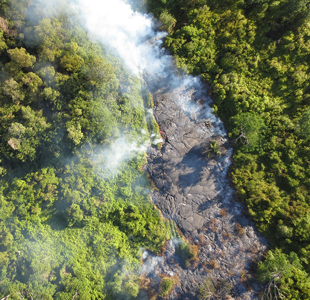 aerial photo of lava flow