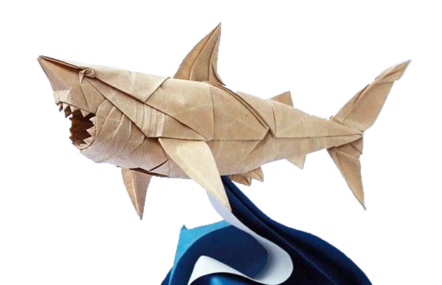 """Great White Shark"" by origami artist Nguyen Hung Cuong"