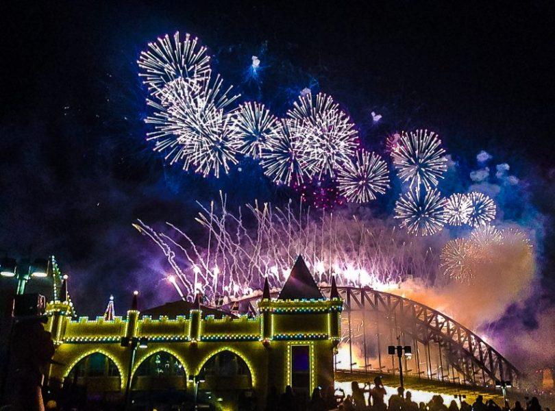 Sydney New Year Fireworks from Luna Park Sydney