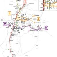 Mapa de las 4 Lineas de MetroBus en el DF