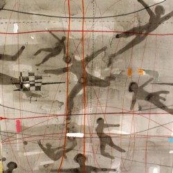 Entrelignes – Technique mixte marouflé sur toile – 2015, 90 x 91 x11 (11, épaisseur)