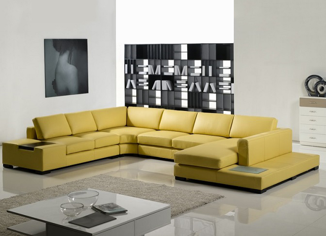 ID: HT SOF07, Yellow Leather Sofa