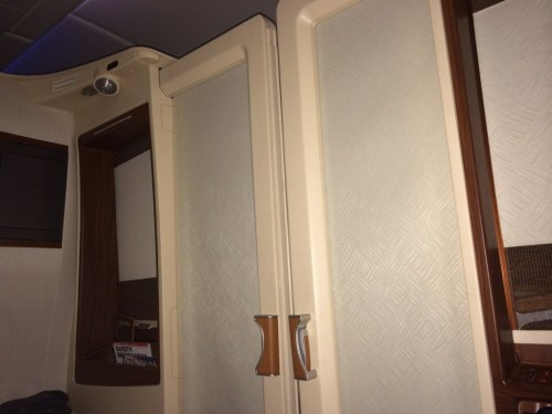 Singapore A380 First Class suite doors closed review