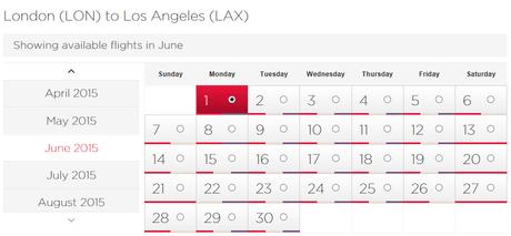 Virgin Atlantic LA availability